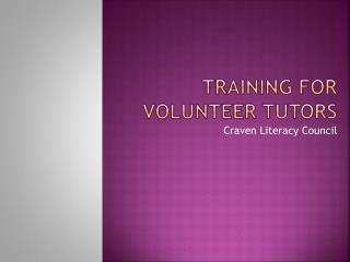 Training For  Volunteer Tutors