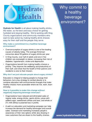 Why commit to a healthy beverage environment?