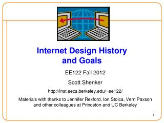 Internet Design  History and  Goals