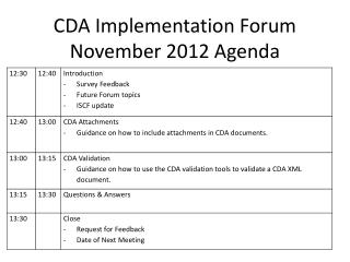CDA Implementation Forum November 2012 Agenda