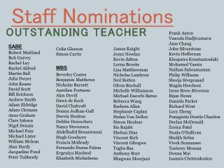 Staff Nominations