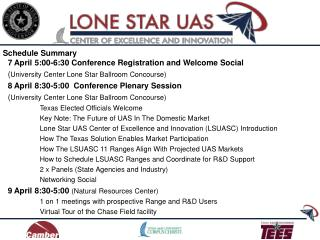 7 April 5:00-6:30 Conference Registration and Welcome Social  ( University Center Lone Star Ballroom Concourse) 8 April