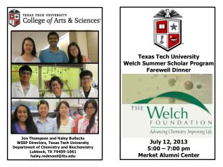 Texas Tech University Welch Summer Scholar Program Farewell Dinner
