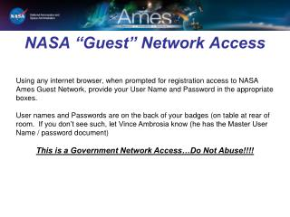 "NASA ""Guest"" Network Access"
