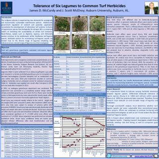 Tolerance of Six Legumes to Common Turf Herbicides James D. McCurdy and J. Scott McElroy; Auburn University, Auburn, AL