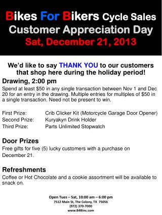 B ikes For B ikers Cycle Sales Customer Appreciation Day Sat, December  21, 2013