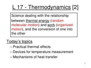 L 17 - Thermodynamics  [2]