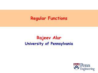 Regular Functions