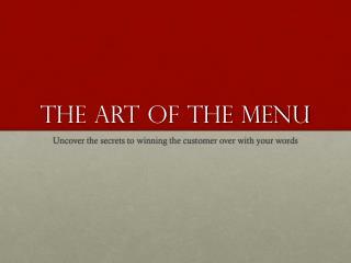 The art of the menu