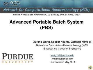 Advanced Portable Batch System (PBS)