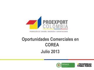 Oportunidades Comerciales  en COREA Julio 2013