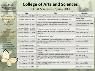 All Seminars in Edwards Hall 112 unless noted Time 4:00 pm  � 5:00 pm Coffee and assorted snacks available  at 3:30