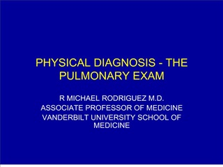 physical diagnosis - the pulmonary exam