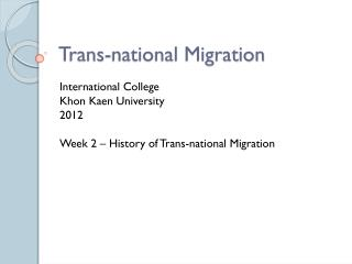 Trans-national Migration