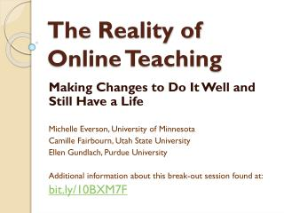 The Reality of Online Teaching
