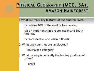 Physical Geography (MCC, SA), Amazon Rainforest