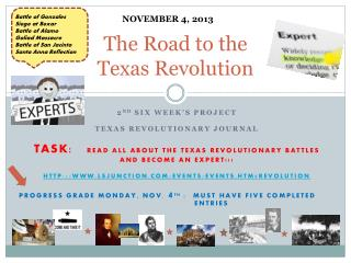 The Road to the  T exas  R evolution