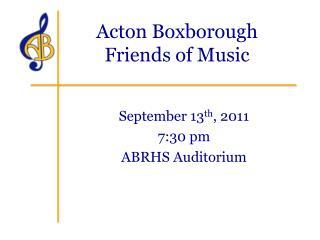 Acton Boxborough  Friends of Music