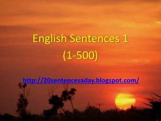 English Sentences 1 (1-500)
