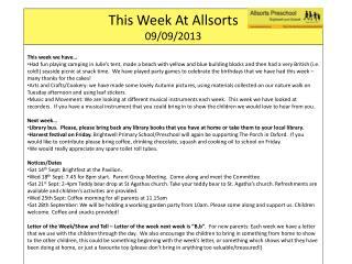 This Week At  Allsorts 09/09/2013