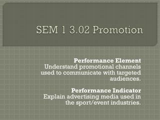 SEM 1 3.02 Promotion