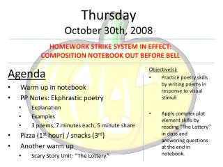 Thursday October  30 th , 2008