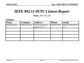IEEE 802.11-IETF Liaison Report
