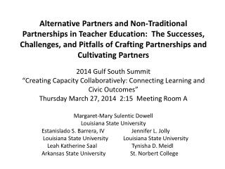 Alternative Partners And Non-traditional Partnerships  Margaret-Mary v eteran service-learning scholar charter school S