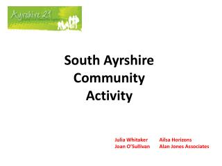 South Ayrshire Community Activity