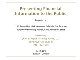 Presenting Financial Information to the Public