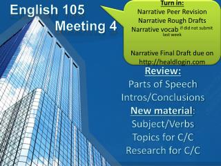 English 105             Meeting 4
