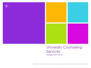 University Counseling Services  Assignment One