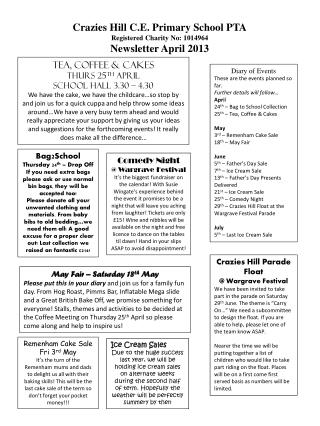 Crazies Hill C.E. Primary School PTA Registered Charity No: 1014964 Newsletter April 2013