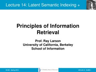 Lecture  14:  Latent Semantic Indexing  +
