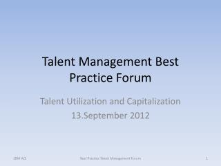 Talent Management Best Practice Forum