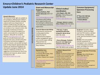 Emory+Children's  Pediatric Research Center Update  June  2014