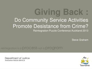Giving Back :  Do Community Service Activities Promote Desistance from Crime? Reintegration Puzzle Conference Auckland