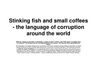 Stinking fish and small coffees - the language of corruption around the world