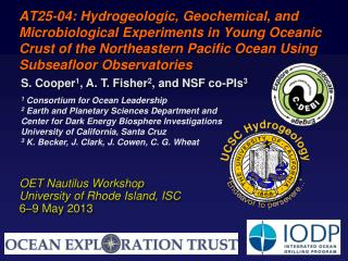 OET Nautilus Workshop University of Rhode Island, ISC 6–9 May 2013