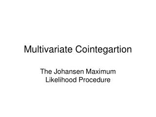 multivariate cointegartion
