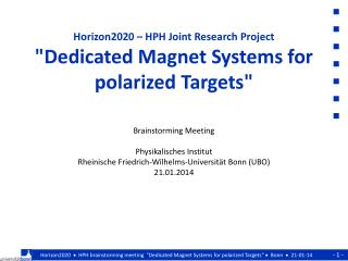 "Horizon2020 – HPH Joint Research Project ""Dedicated Magnet Systems for polarized Targets"""