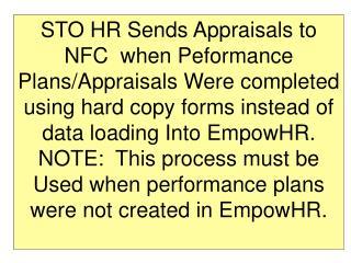 sto hr sends appraisals to nfc  when peformance plans