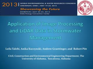 Application of Image Processing and  LiDAR  Data in  Stormwater  Management