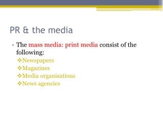 PR & the media