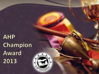 AHP  Champion Award 2013