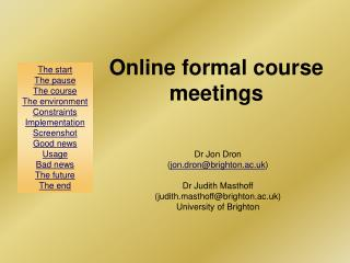 Online formal course meetings