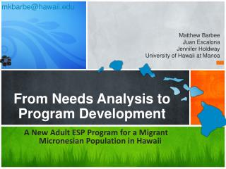 From Needs Analysis  to Program  Development