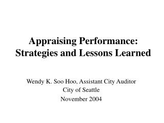 appraising performance:  strategies and lessons learned