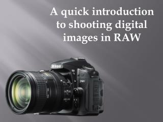 A quick introduction to shooting digital  i mages  i n RAW