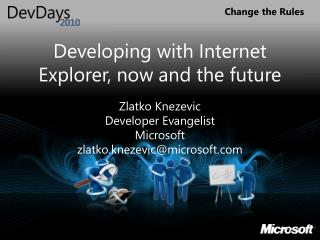 Developing with Internet Explorer, now and the future